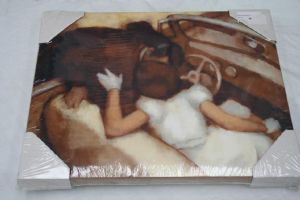 Oil painting print of a couple kissing